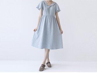 【L】夏に爽やか丸い衿刺繍入り大人可愛い半袖ワンピース♪の画像
