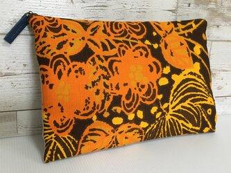 バッグインバッグ クラッチバッグ オレンジと茶の画像