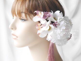 ピオニーとハナミズキのヘッドドレス/ヘアアクセサリー*結婚式・成人式・ウェディングドレスにの画像
