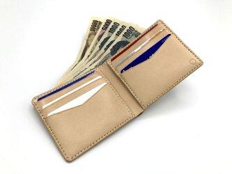 ショートウォレットver.2/札入れ/折り財布 ヌメ革:ナチュラル【選べるステッチカラー】(r102)の画像