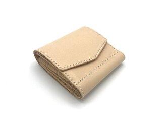 ショートウォレット ver.3/折り財布 ヌメ革:ナチュラル【選べるステッチカラー】(r104)の画像