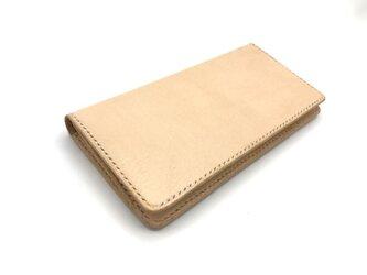 ロングウォレット ver1/長財布 ヌメ革:ナチュラル【選べるステッチカラー】(r105)の画像