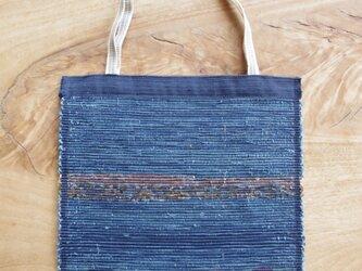A4ファイルが入る、紺色のフラットバッグ(内側にポケットあり)② 木綿・裂き織り の画像