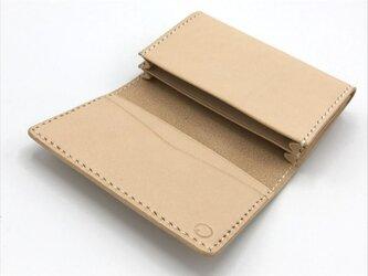 【セパレートタイプ】名刺入れ/カードケース ヌメ革:ナチュラル【選べるステッチカラー】(r201)の画像