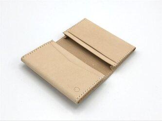 【両マチタイプ】名刺入れ/カードケース ヌメ革:ナチュラル【選べるステッチカラー】(r202)の画像