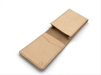 【タテ型】名刺入れ/カードケース ヌメ革:ナチュラル【選べるステッチカラー】(r209)の画像
