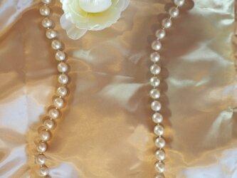 Nobleコットンパール(12mm珠)コンビカラーマグネットロングネックレスの画像