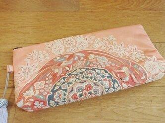帯地のクラッチバッグ(相良刺繍)の画像