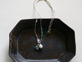 ラブラドライト×あこや真珠×ハーキマーダイヤモンド×ターコイズ・ビーズネックレス n1353の画像