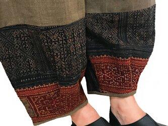 LL~3Lサイズ、手織りヘンプのもんぺ、モン刺繍付きパンツ茶、オールシーズンの画像