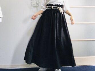 シワになりにくいリネン100%  超ハイウエストボリュームスカート  黒の画像