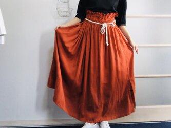 シワになりにくいリネン100%  超ハイウエストボリュームスカート  オレンジの画像