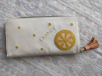 刺繍革財布『ORANGE』キイロ×アイボリー(ヤギ革)ラウンドファスナー型の画像