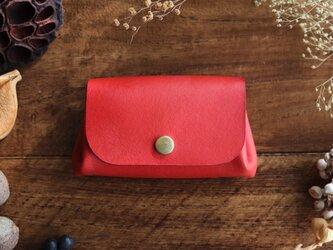 茜染の小さい財布の画像