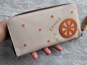 刺繍革財布『ORANGE』クリーム×オレンジ(ヤギ革)ラウンドファスナー型の画像
