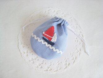 かわいいヨットのミニ巾着の画像