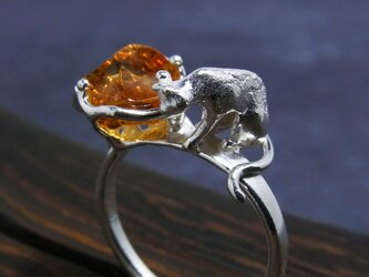 シトリンと猫 指輪  Citrine & Cat Ring llの画像