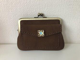 外ポッケのついた、四角い本革ぺたんこ親子がまぐちミニ財布【ビターチョコ色レザー】の画像
