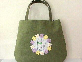 スラブリネン お花と猫の手提げバッグ*萌木色Aの画像