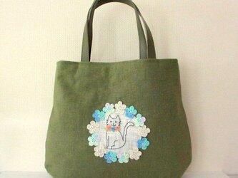 スラブリネン お花と猫の手提げバッグ*萌木色Bの画像