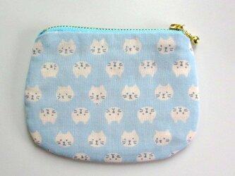 ダブルガーゼ 猫のミニポーチ*ラムネブルーの画像