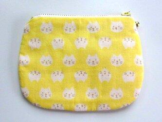 ダブルガーゼ 猫のミニポーチ*レモンイエローの画像