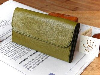 イタリアンレザーの長財布/ロングウォレット/オリーブの画像