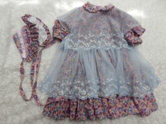 ドール背丈が67~70cm用 ピンク系ローン地ドレスとボネの画像