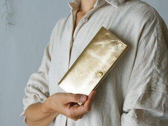 スマート長財布・ゴールド(イタリア産牛革 箔押し) 薄い長財布ですっきり断捨離!の画像
