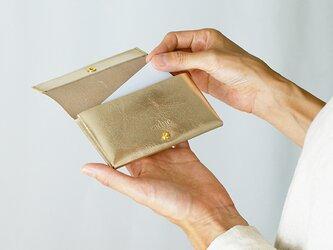 カードケース・ゴールド(イタリア産牛革 箔押し) コインケース・小物入れにも使えます◎ caducカデュックの画像
