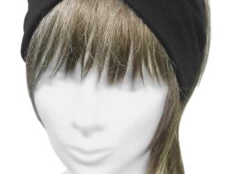 クロスワイドヘアバンド◆コットンニット /ブラックの画像