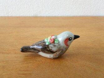 ひよどり・バラ 花小鳥/小(陶)の画像