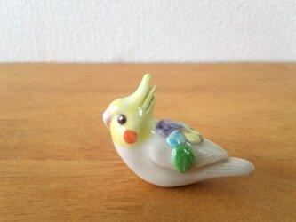 オカメインコ・ビオラ 花小鳥/小(陶)の画像