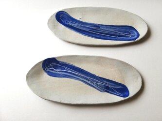 呉須色化粧土の長皿の画像