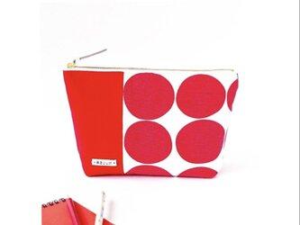 SALE!鮮やかな赤ドットのマチ付き化粧ポーチ(赤の帆布)の画像