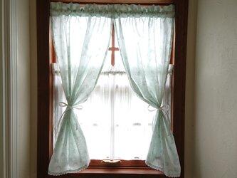 ハーフリネン♪水色リースカフェカーテン(リボン付き)の画像