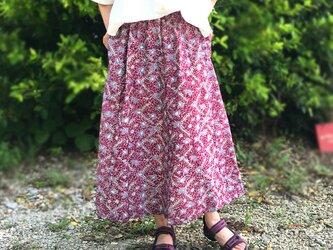 着物リメイク、レンゲ柄が可愛いのロングスカート、大きいサイズの画像