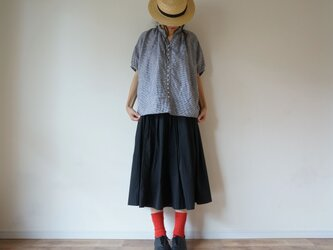 ◯予約商品◯French Linen blouse 半袖 LADY'S BLACK(チェック)の画像