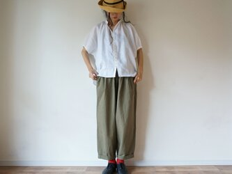French Linen blouse 半袖 LADY'S OFF/W(無地)の画像