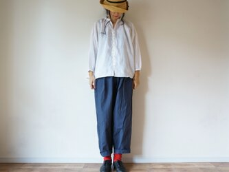 Linen button gather blouse 長袖 OFF/Wの画像
