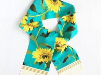 リボンスカーフ「 Sunflowers(ヒマワリ柄・ターコイズブルー)」(細身フォルム  / コットン)の画像