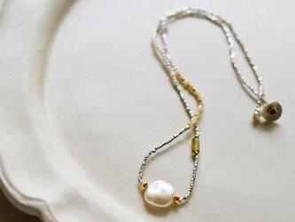 淡水パール×マザーオブパール×ハーキマーダイヤモンド・シルバーネックレス・チョーカー n1354の画像