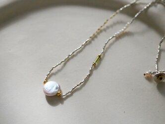 淡水パール×マザーオブパール×ハーキマーダイヤモンド・シルバーネックレス n1374の画像