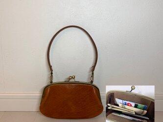 上質牛革ポッケ付きがま口財布◆ブラウン 17cmの画像