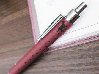 馬デザイン革ボールペン(ローズ)☆送料無料☆名入れ無料の画像