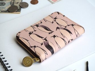 ラウンドファスナー コンパクト財布(ペンギン)牛革  小さい ILL-1145の画像