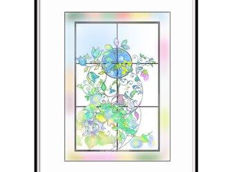「しあわせを呼ぶ窓」 ほっこり癒しのイラストA4サイズポスターNo.678の画像