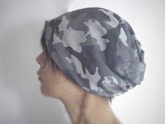 ターバンな帽子 カモフラージュ+ネイビー 送料無料の画像