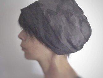 ターバンな帽子 カモフラージュ+グレー 送料無料の画像