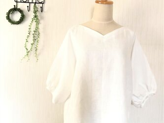 【ご予約商品】ホワイトリネン キモノスリーブふんわりパフブラウスの画像